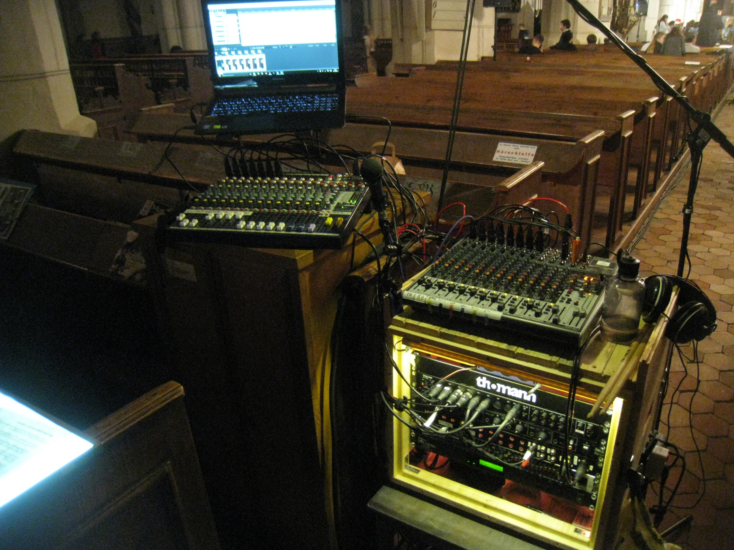 FOH-Setup with mixer and Rack on a school concert in the church