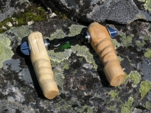 self-made wooden rig handles
